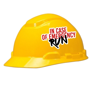 In Case Of Emergency Run Hard Hat Helmet Sticker